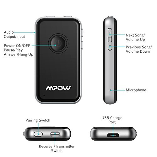 ▷ Mpow Bluetooth 4 1 Transmitter/Receiver, with 3 5mm Audio