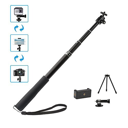 360fly 4K Samsung Gear 360,4K Action Camera YI 4K and Cell Phones YiSeyruo Selfie Stick Extendable Monopod with Tripod Stand for GoPro Hero 5//4//3+//3//2//1//Session M15 Camera Olympus Ricoh Theta S